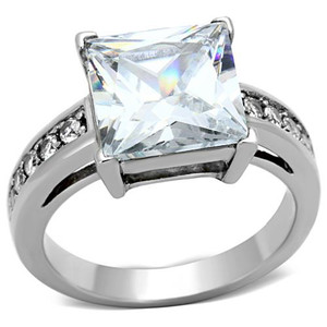 STAINLESS STEEL 5.95 CT PRINCESS CUT CZ SILVER ENGAGEMENT RING WOMEN'S SIZE 5-10
