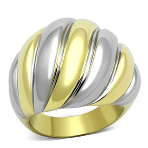 TWO TONED ION PLATED STAINLESS STEEL DOME FASHION RING WOMEN'S SIZE 5-10