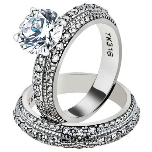 ARTK1228 Stainless Steel 3.25 Ct Round Cut CZ Vintage Wedding Ring Set  Womenu0027s Size 5 10