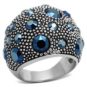 WOMEN'S STAINLESS STEEL 5.63 CT MONTANA CRYSTAL COCKTAIL FASHION RING SIZE 5-10