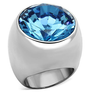 ROUND CUT AQUAMARINE SYNTHETIC GLASS DOME RING WOMEN'S SIZE 5-10