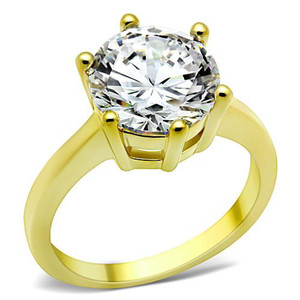 Stainless Steel 3.5 Ct Round Cut CZ 14k Gold Ion Plated Engagement Ring Size 5-10