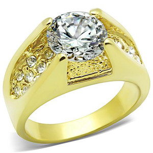 3.35 CT ROUND CUT CZ STAINLESS STEEL 14K GP ENGAGEMENT RING WOMEN'S SIZE 5-10