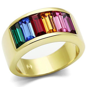 14K GOLD ION PLATED BAGUETTE RAINBOW RING WOMEN'S SIZES 5-10