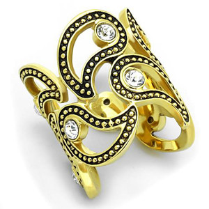 14K GOLD ION PLATED CRYSTAL CUFF FASHION RING WOMEN'S SIZE 5-10