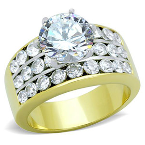 5.35 CT ROUND CUT CZ GOLD ION PLATED ENGAGEMENT RING SIZES 5-10