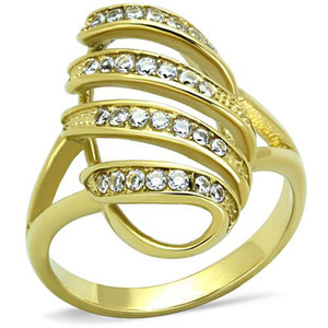 14K GOLD ION PLATED CRYSTAL FASHION RING WOMEN'S SIZE 5-10