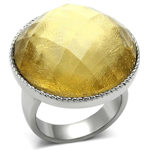 ROUND CUT 25mm SYNTHETIC TOPAZ STONE RING WOMEN'S SIZE 5-10