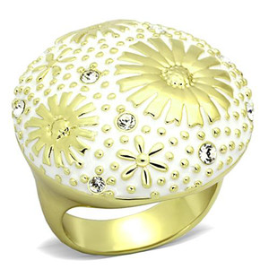14K GOLD ION PLATED STAINLESS STEEL 316L CRYSTAL &  EPOXY DOME RING WOMEN'S SIZE 5-10