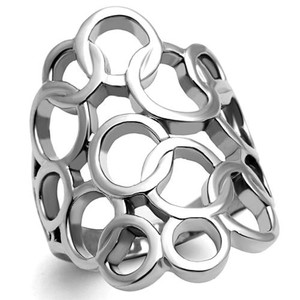 HIGH POLISHED STAINLESS STEEL INTERLOCKING CIRCLES FASHION RING WOMEN'S SZ 5-10