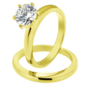 STAINLESS STEEL 316L WEDDING RING SET 2.05 CT ROUND CUT CZ 14K GP WOMEN'S SIZE 5-10