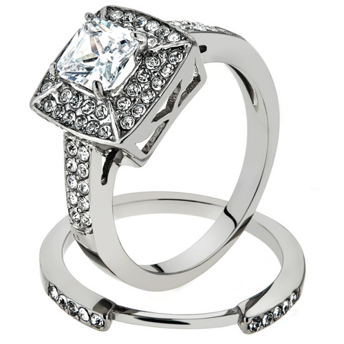 ARTK1088 Stainless Steel Wedding Ring Set 2.65 Ct Halo Princess Cut CZ  Womenu0027s Size 5 10