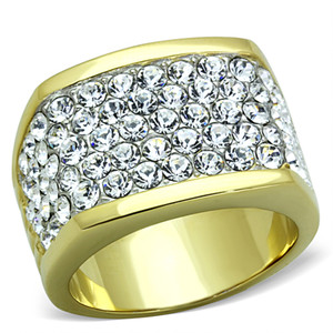 STUNNING 14K GOLD ION PLATED STAINLESS STEEL 316L CRYSTAL COCKTAIL / FASHION RING SIZE 5-10