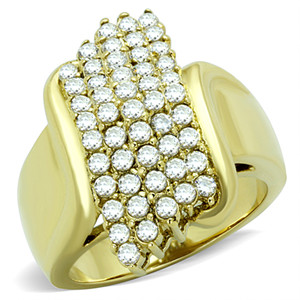 STUNNING 1 CT CZ 14K GOLD ION PLATED STAINLESS STEEL 316L COCKTAIL RING WOMEN'S SIZE 5-10