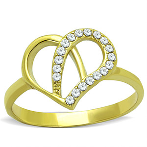 14K GOLD ION PLATED HEART SHAPED CZ FASHION RING SIZE 5-10