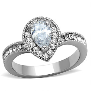 STAINLESS STEEL 316L HIGH POLISHED 1.08 CT PEAR CUT CZ  HALO ENGAGEMENT RING SIZE 5-10