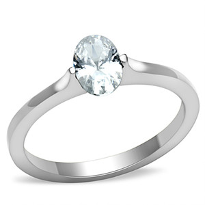 .76 CT ZIRCONIA OVAL SOLITAIRE STAINLESS STEEL ENGAGEMENT/PROMISE RING SIZE 5-10