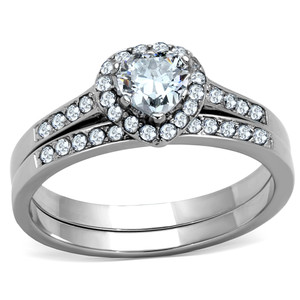 .625 Ct Halo Heart Cut CZ Stainless Steel 316L Wedding Ring Set Women's Size 5-10
