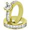STUNNING STAINLESS STEEL 316L PRINCESS CUT CZ 14K GP WEDDING RING SET WOMEN'S SZ 5-11