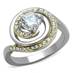 STAINLESS STEEL 316L TWO TONED ION PLATED 1.0 CT ENGAGEMENT / FASHION RING WOMEN'S SIZE 5-10