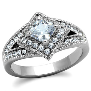 STAINLESS STEEL 316L HIGH POLISHED  1CT CZ ENGAGEMENT / FASHION RING SIZES 5-10