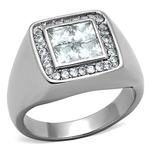 MEN'S 2.01 CT PRINCESS CUT SIMULATED DIAMOND SILVER STAINLESS STEEL RING SZ 8-13