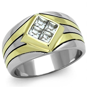 .72CT PRINCESS CUT SIMULATED DIAMOND TWO TONE MEN'S STAINLESS STEEL RING SZ 8-13