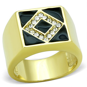 STAINLESS STEEL GOLD PLATED & BLACK EPOXY, MEN'S SIMULATED DIAMOND RING SZ 8-13
