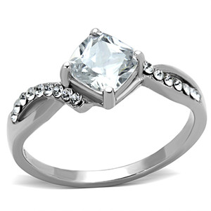 STAINLESS STEEL 316L HIGH POLISHED .915 CT SQUARE CUT CZ  ENGAGEMENT / PROMISE RING SIZE 5-10