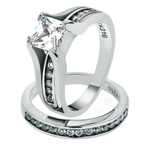 2.10 CT PRINCESS CUT CZ 14K GOLD ION PLATED STAINLESS STEEL 316L WEDDING RING SET WOMEN'S SiZE 5-11