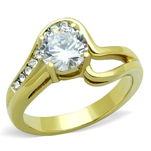 STAINLESS STEEL 316L 14K GOLD ION PLATED 1.325CT CZ ROUND CUT ENGAGEMENT RING SIZE 5-10