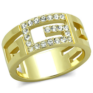 14K GOLD ION PLATED STAINLESS STEEL 316L LETTER G CRYSTAL FASHION RING SIZE 510