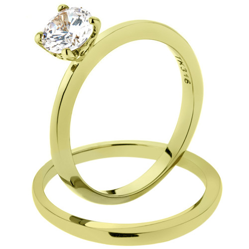 14K GOLD ION PLATED STAINLESS STEEL 316L CLASSIC WEDDING RING SET .85 CT ROUND CUT CZ WOMEN'S SIZE 5-10