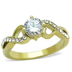 STAINLESS STEEL 316L 14K GOLD ION PLATED .89CT CZ ROUND CUT  ENGAGEMENT RING SIZE 5-10