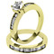 STAINLESS STEEL 316L STUNNING 1.75 CT ROUND CUT WITH BAGUETTES CZ 14K GOLD ION PLATED WEDDING RING SET SIZE 5-10