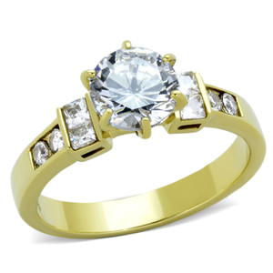 STAINLESS STEEL 316L 14K GOLD ION PLATED 1.25CT CZ ENGAGEMENT RING WOMEN'S SIZE 5-10