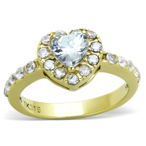 1.38CT HEART CZ STAINLESS STEEL 316L 14K GOLD ION PLATED HALO ENGAGEMENT RING SIZES 5-10