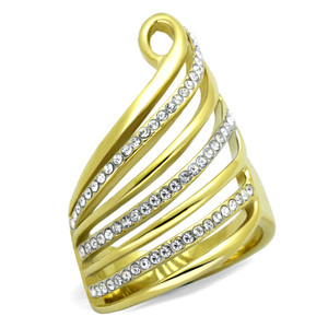 14K GOLD ION PLATED STAINLESS STEEL 316L CRYSTAL FASHION RING SIZES 5-10