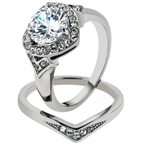 artk1087 stainless steel 275 ct round cut cz halo heart wedding ring set womens sz 5 10 - Heart Wedding Ring Set