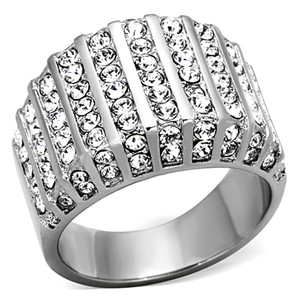 2.75 CT ROUND CUT CZ STAINLESS STEEL WIDE BAND FASHION RING WOMEN'S SIZE 5-10