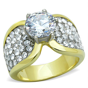 2.94CT ZIRCONIA STAINLESS STEEL TWO TONED ION PLATED ENGAGEMENT RING SIZES 5-10