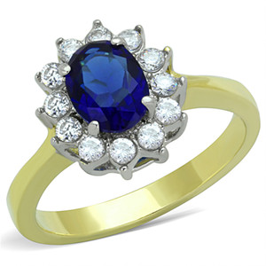 BLUE MONTANA SYNTHETIC GLASS STAINLESS STEEL ENGAGEMENT RING WOMEN'S SZ 5-10