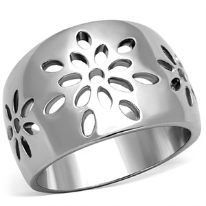 HIGH POLISHED STAINLESS STEEL 316 FLOWER DESIGN FASHION RING WOMEN'S SIZE 5-10