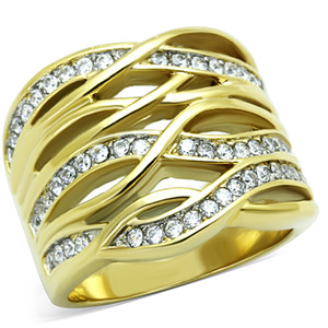 14K GOLD ION PLATED STAINLESS STEEL 316L ZIRCONIA COCKTAIL RING WOMEN SIZES 5-10