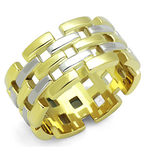 TWO TONED ION PLATED STAINLESS STEEL 316L CRYSTAL COCKTAIL RING SIZES WOMEN 5-10