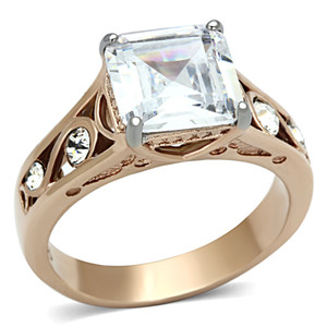 4.30 CT PRINCESS ZIRCONIA ROSE GOLD STAINLESS STEEL 316L WOMEN'S ENGAGEMENT RING