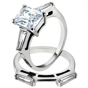 4.45 CT EMERALD CUT ZIRCONIA STAINLESS STEEL ENGAGEMENT WEDDING RING SET SZ 5-10