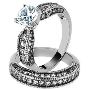 ARTK1228 Stainless Steel 325 Ct Round Cut CZ Vintage Wedding Ring
