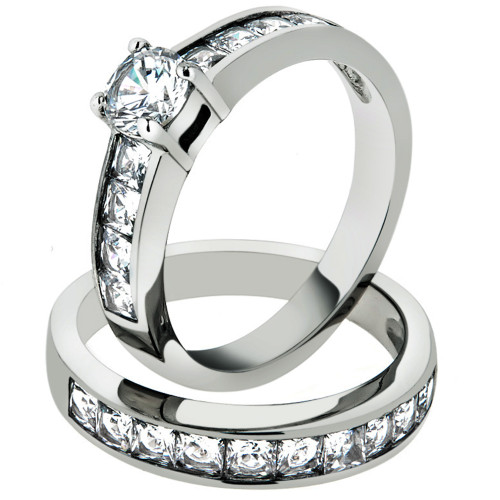 3.25 CT CUBIC ZIRCONIA STAINLESS STEEL 316L ENGAGEMENT WEDDING RING SET SZ 5-10