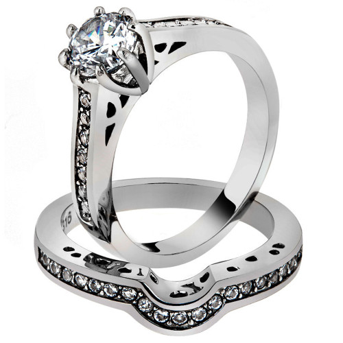 1.85 CT CUBIC ZIRCONIA STAINLESS STEEL 316L WEDDING RING SET WOMEN'S SIZE 5-10